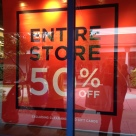 Advertised as 50% off everything, but some prices were high to begin with and sale items were excluded.