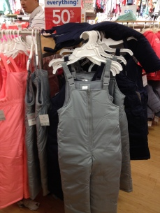 Basic snowpants for boys and girls were 50% off, working out to $27/pair.