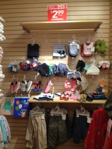 Small additional sad clearance area of shoes and bibs.
