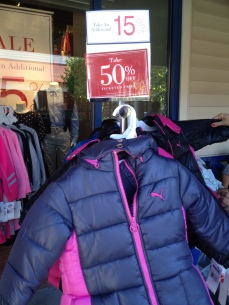 Puma coats were 50% off, then 15% off, bringing them down to $34 each.