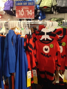 Three-piece pajama sets were $10 each.