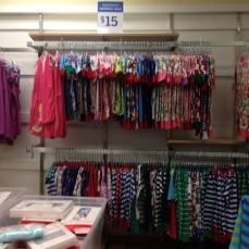 The big sale that they were marketing was that their pajamas/pajama sets were $15 (Hanna's PJs are usually $42, so this was a large markdown).