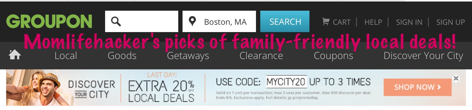 Good local kid-friendly Groupons on discount right now (ex