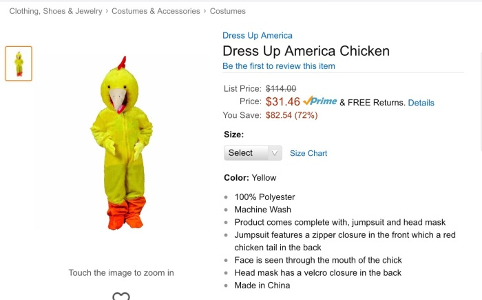 I think this is hilarious - not only can you be a chicken, but you can be an