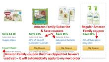 Amazon Family coupon examples