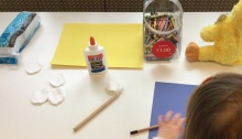Supplies for making your own snowman craft project