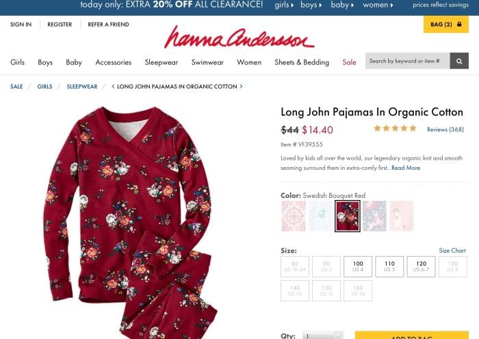 nna Andersson organic cotton pajamas