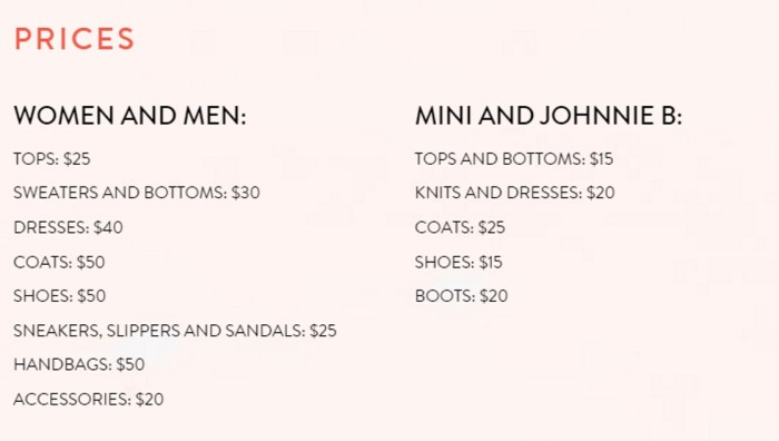 Boden Sample Sale 2016 price list