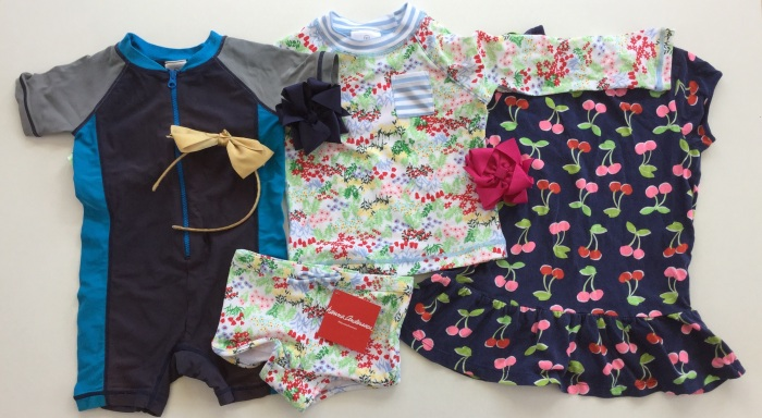 Hanna Andersson and Gymboree purchases. The middle suit is from their new swim line.