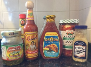 Father's Day gift idea: assortment of spicy sauces and foods
