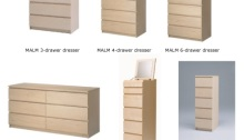 Pictures of recalled IKEA MALM chests and dresser